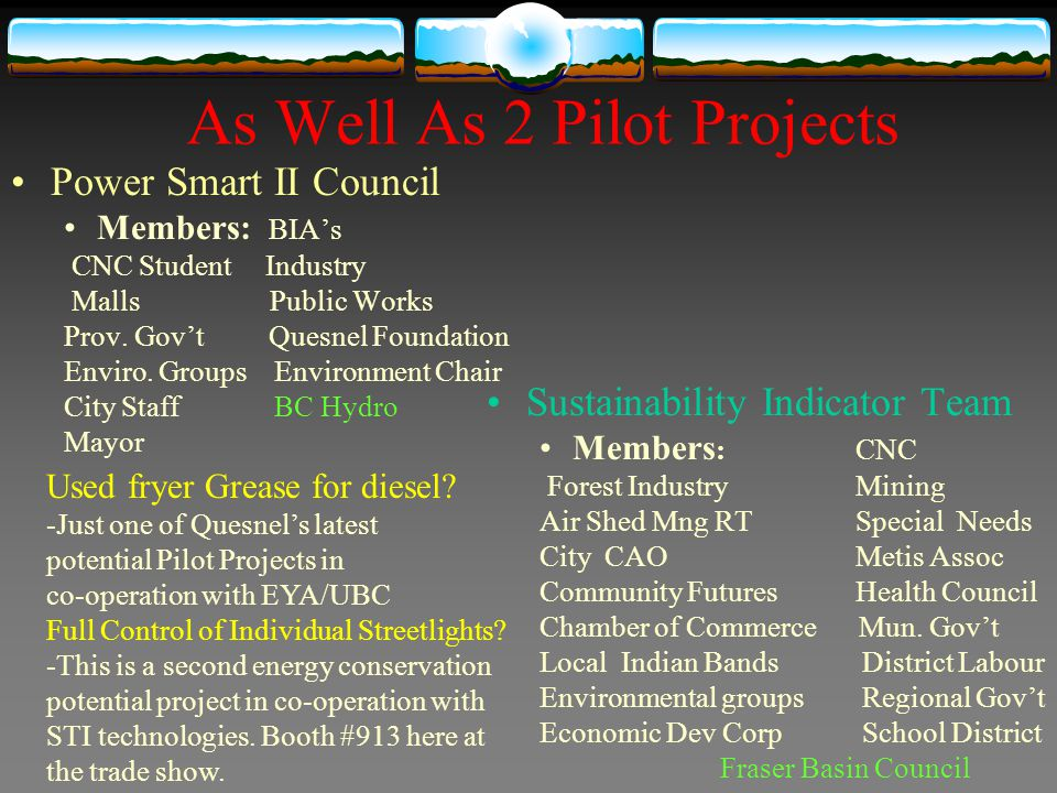 As Well As 2 Pilot Projects Power Smart II Council Members: BIAs CNC Student Industry Malls Public Works Prov. Govt Quesnel Foundation Enviro. Groups