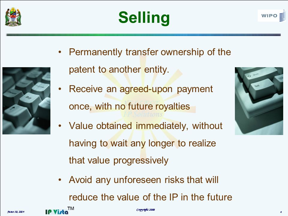 Selling Permanently transfer ownership of the patent to another entity.