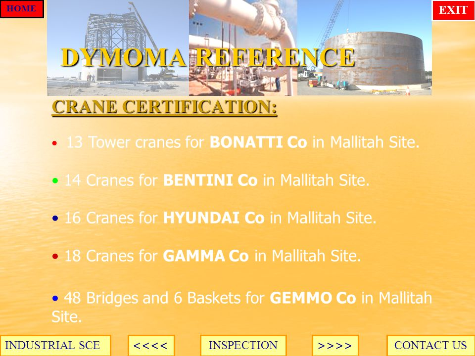 DYMOMA REFERENCE CRANE CERTIFICATION: CONTACT USINSPECTION HOME >>>><<<< INDUSTRIAL SCE EXIT 13 Tower cranes for BONATTI Co in Mallitah Site.