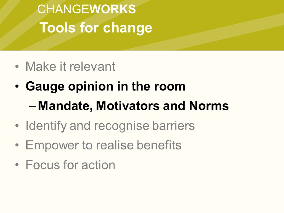 CHANGEWORKS Make it relevant Gauge opinion in the room –Mandate, Motivators and Norms Identify and recognise barriers Empower to realise benefits Focu