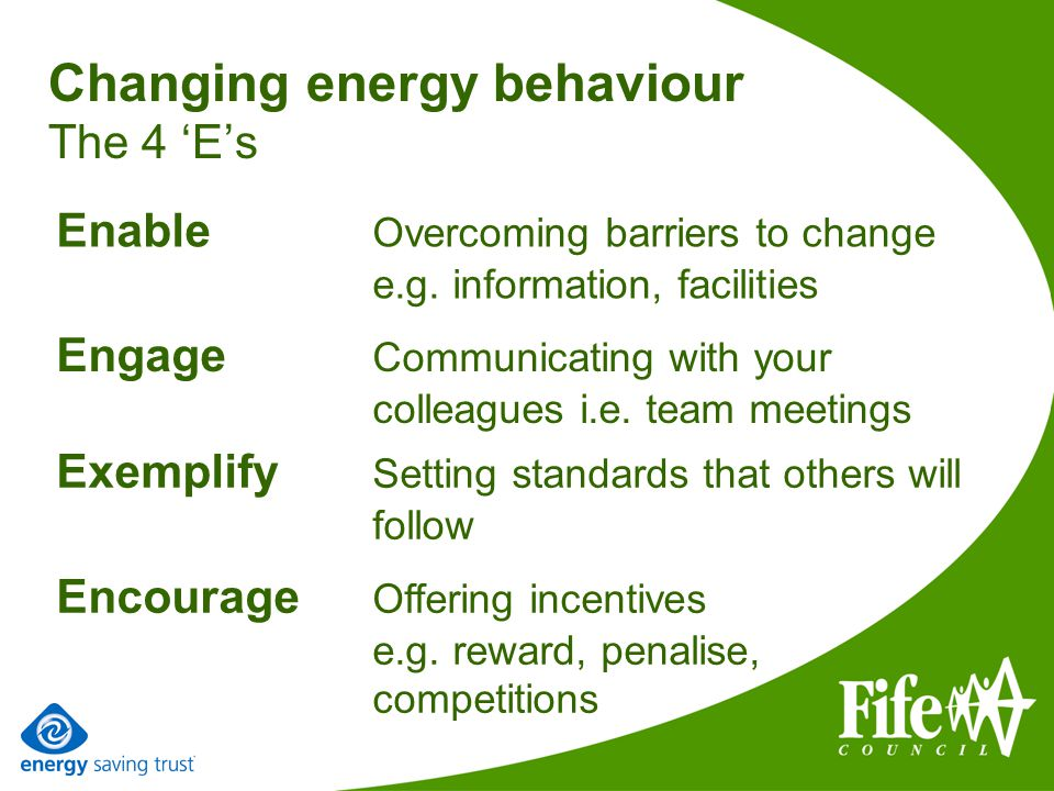 Changing energy behaviour The 4 Es Engage Communicating with your colleagues i.e.