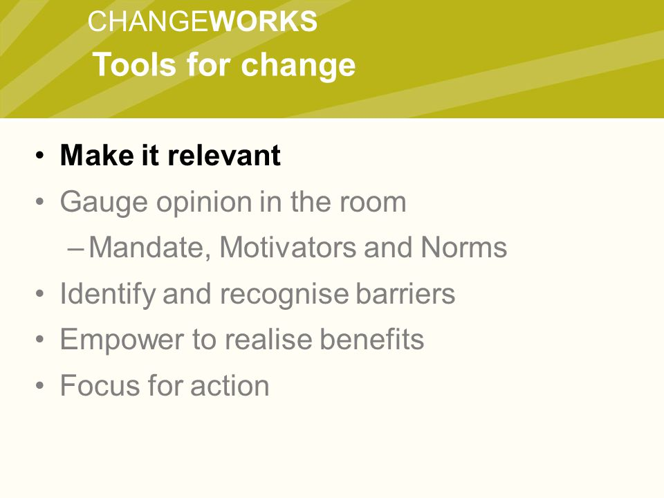 CHANGEWORKS Make it relevant Gauge opinion in the room –Mandate, Motivators and Norms Identify and recognise barriers Empower to realise benefits Focus for action Tools for change