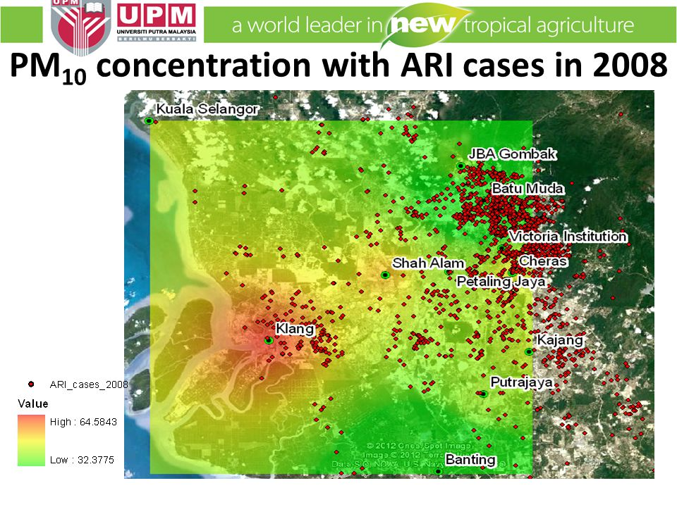 PM 10 concentration with ARI cases in 2008