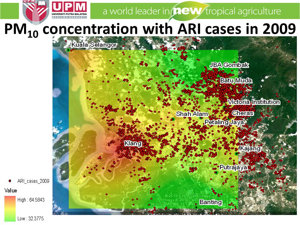 PM 10 concentration with ARI cases in 2009