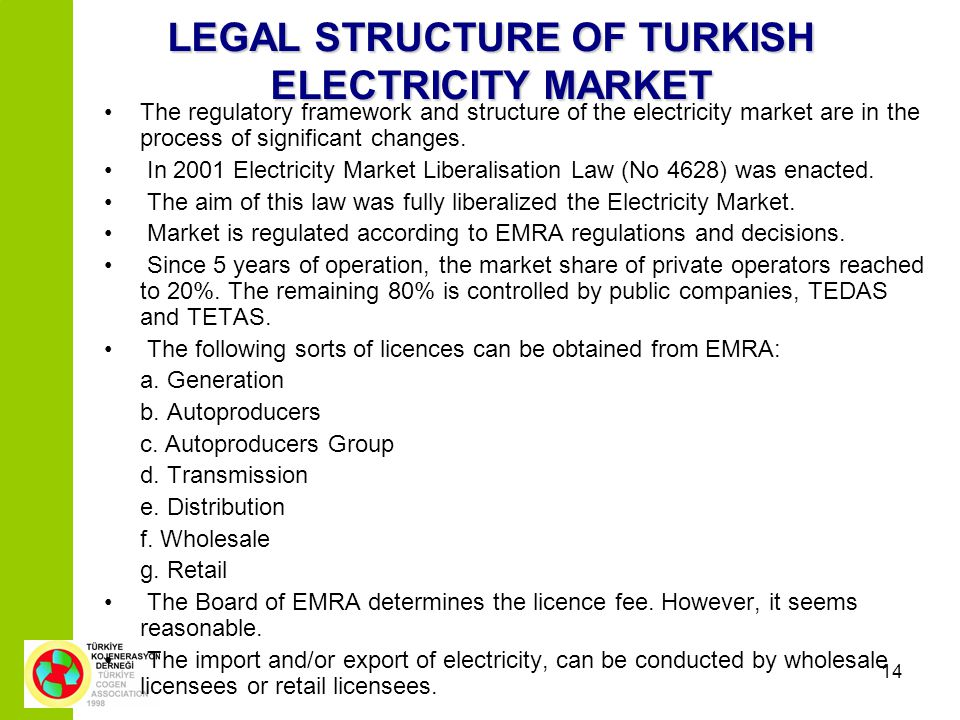 14 LEGAL STRUCTURE OF TURKISH ELECTRICITY MARKET The regulatory framework and structure of the electricity market are in the process of significant ch