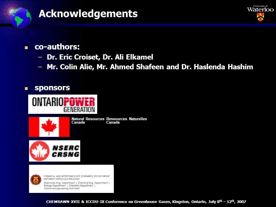 Acknowledgements n co-authors: –Dr. Eric Croiset, Dr.