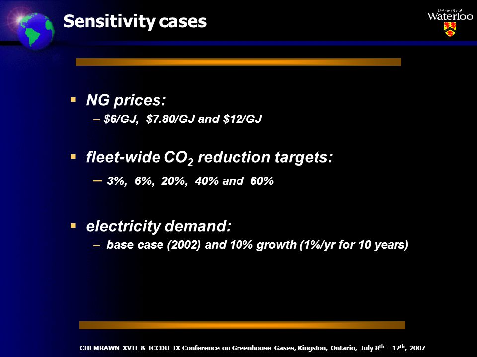 Sensitivity cases NG prices: – $6/GJ, $7.80/GJ and $12/GJ fleet-wide CO 2 reduction targets: – 3%, 6%, 20%, 40% and 60% electricity demand: – base case (2002) and 10% growth (1%/yr for 10 years) CHEMRAWN-XVII & ICCDU-IX Conference on Greenhouse Gases, Kingston, Ontario, July 8 th – 12 th, 2007