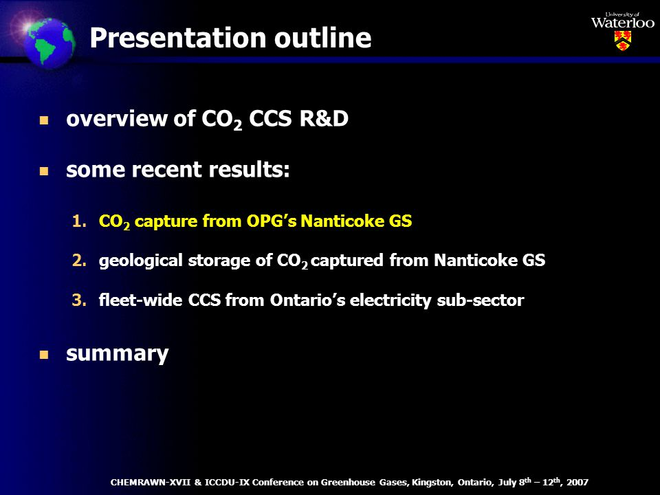Case 1 - CO 2 emissions CHEMRAWN-XVII & ICCDU-IX Conference on Greenhouse Gases, Kingston, Ontario, July 8 th – 12 th, 2007 1.no CO 2 reduction constraints 2.6% reduction of 1990 CO 2 emissions by 2010