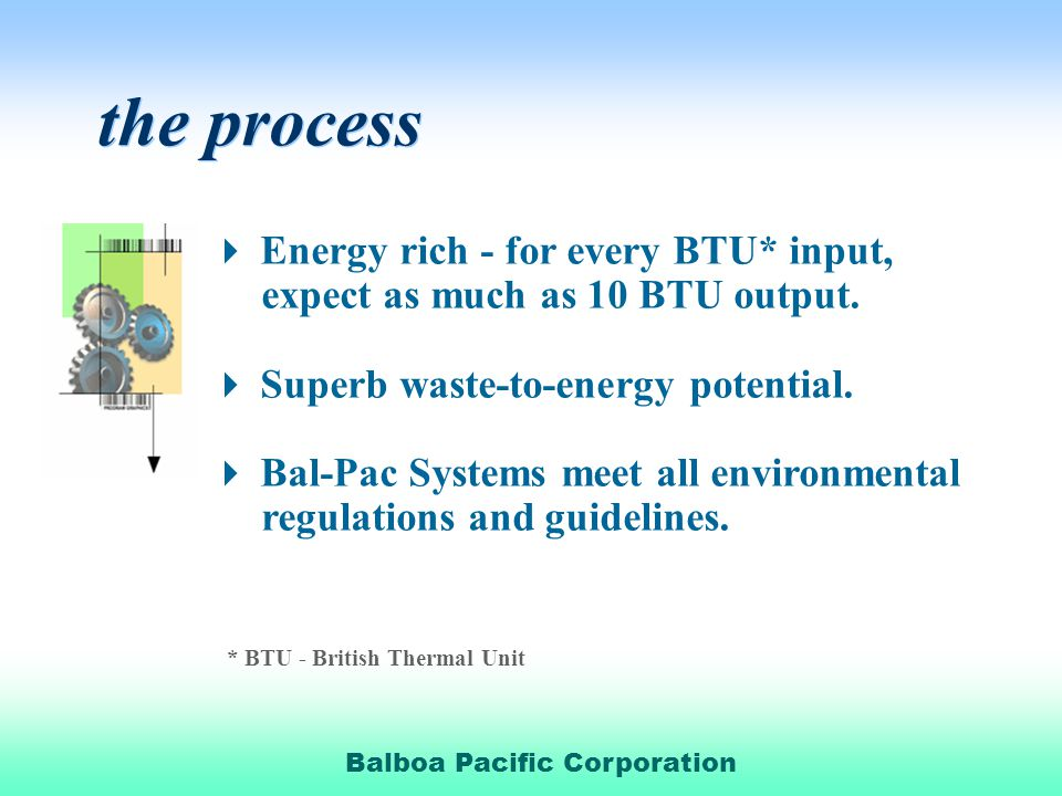 Balboa Pacific Corporation the process Energy rich - for every BTU* input, expect as much as 10 BTU output.