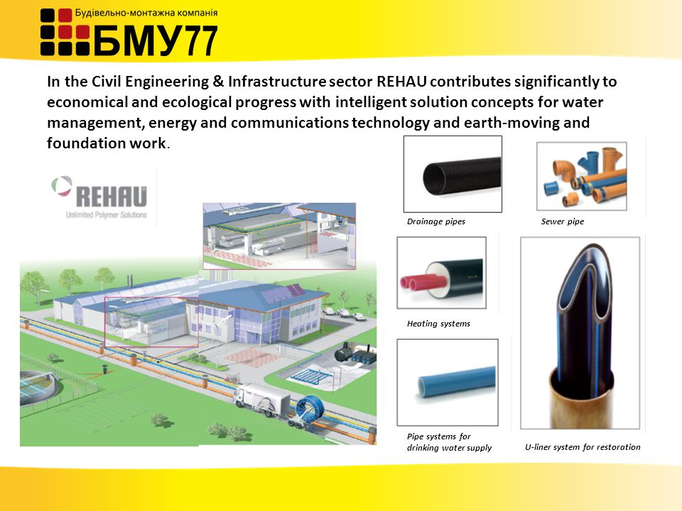 In the Civil Engineering & Infrastructure sector REHAU contributes significantly to economical and ecological progress with intelligent solution concepts for water management, energy and communications technology and earth-moving and foundation work.
