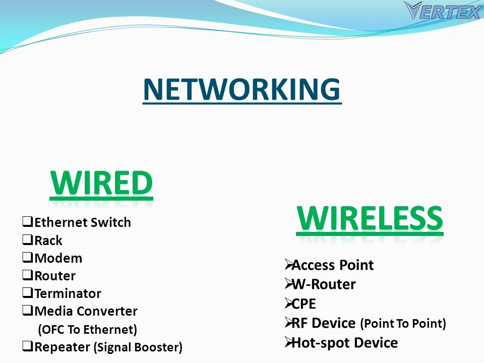 NETWORKING Ethernet Switch Rack Modem Router Terminator Media Converter (OFC To Ethernet) Repeater (Signal Booster) Access Point W-Router CPE RF Device (Point To Point) Hot-spot Device