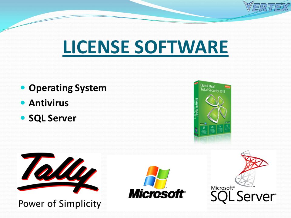 LICENSE SOFTWARE Operating System Antivirus SQL Server