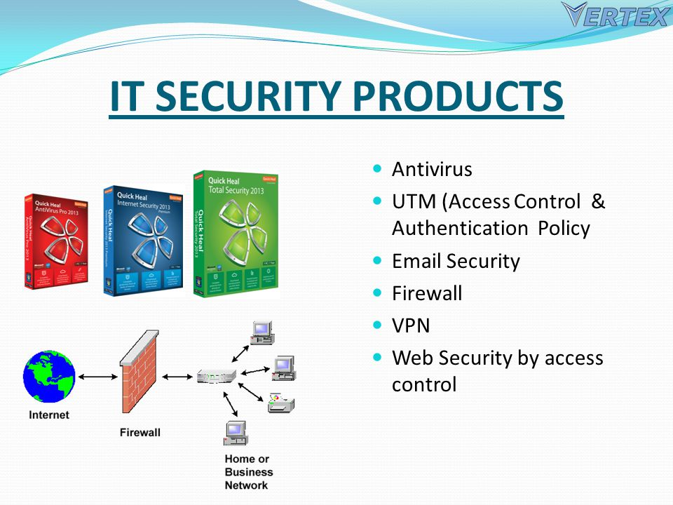 IT SECURITY PRODUCTS Antivirus UTM (Access Control & Authentication Policy Email Security Firewall VPN Web Security by access control