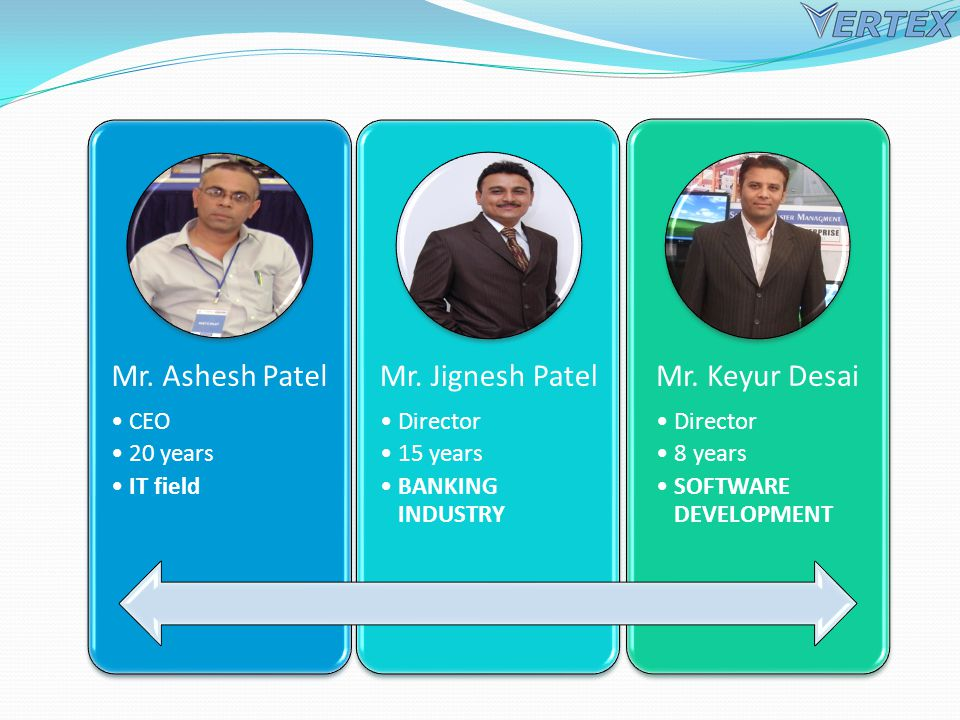 Mr. Ashesh Patel CEO 20 years IT field Mr. Jignesh Patel Director 15 years BANKING INDUSTRY Mr.