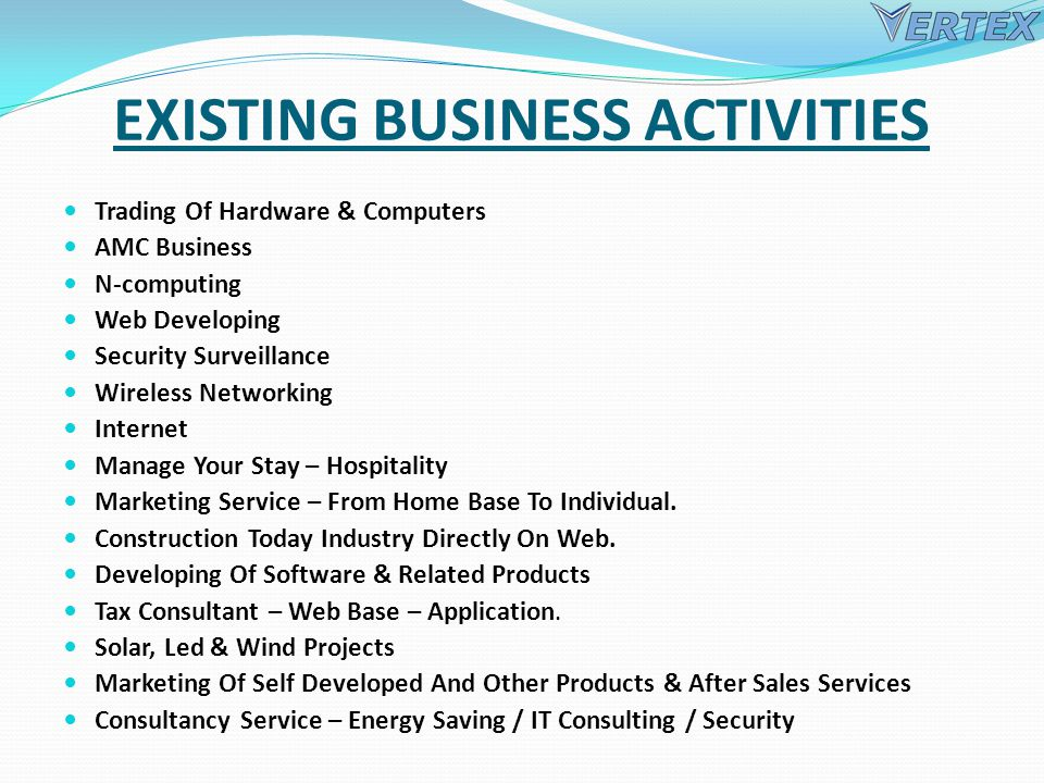 EXISTING BUSINESS ACTIVITIES Trading Of Hardware & Computers AMC Business N-computing Web Developing Security Surveillance Wireless Networking Internet Manage Your Stay – Hospitality Marketing Service – From Home Base To Individual.