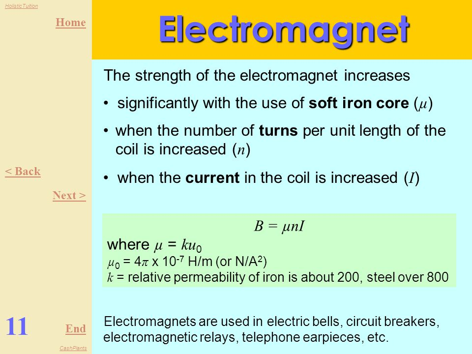 Home End HolisticTuition CashPlants 10 < Back Next >Electromagnet An electromagnet is made by winding a coil of wire around a soft iron core, which loses its magnetism when the current is switched off, unlike steel which is magnetized permanently.