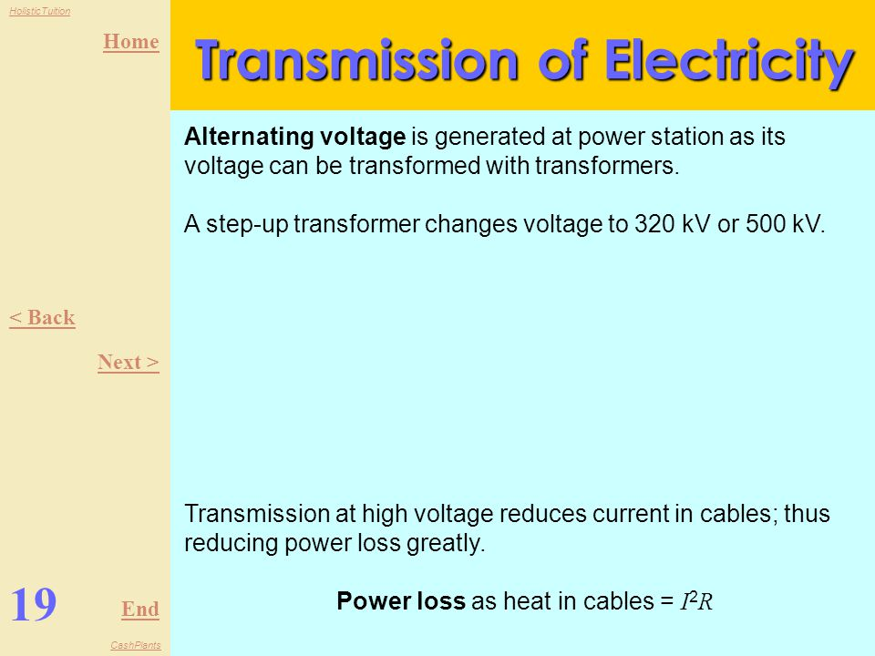 Home End HolisticTuition CashPlants 18 < Back Next > Generation of Electricity Many sources of energy are used to generate electricity, each with their own advantages and disadvantages.