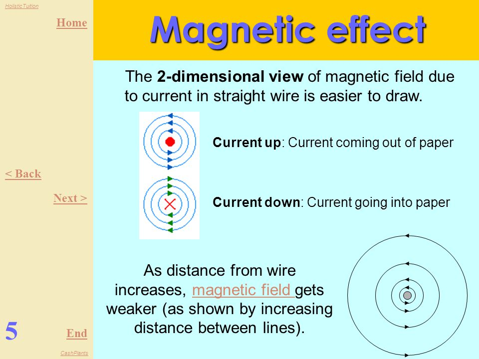 Home End HolisticTuition CashPlants 4 < Back Next > Magnetic effect When current flows in a conductor, a magnetic field is produced around it.