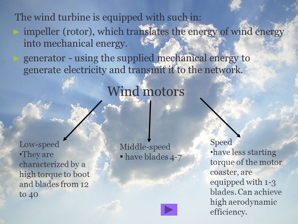 The wind turbine is equipped with such in: impeller (rotor), which translates the energy of wind energy into mechanical energy. generator - using the