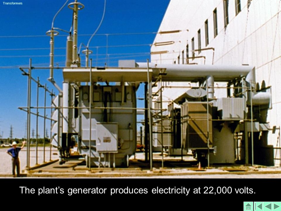 The plants generator produces electricity at 22,000 volts. Transformers