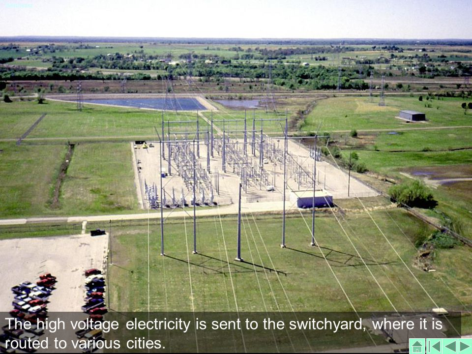 The high voltage electricity is sent to the switchyard, where it is routed to various cities.