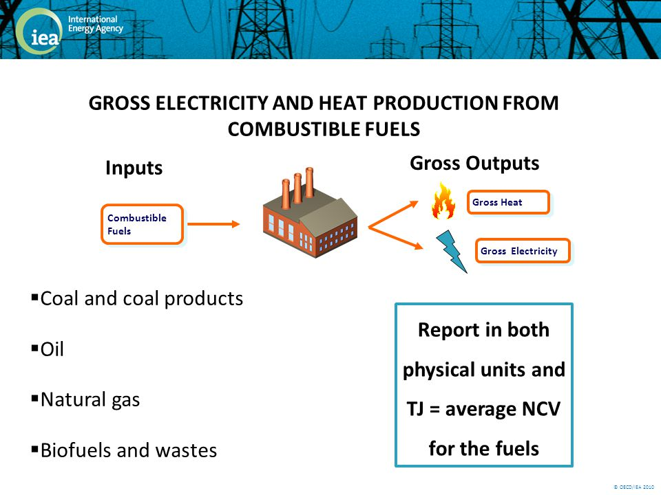 © OECD/IEA 2010 GROSS ELECTRICITY AND HEAT PRODUCTION FROM COMBUSTIBLE FUELS Coal and coal products Oil Natural gas Biofuels and wastes Combustible Fuels Inputs Gross Outputs Gross Heat Gross Electricity Report in both physical units and TJ = average NCV for the fuels