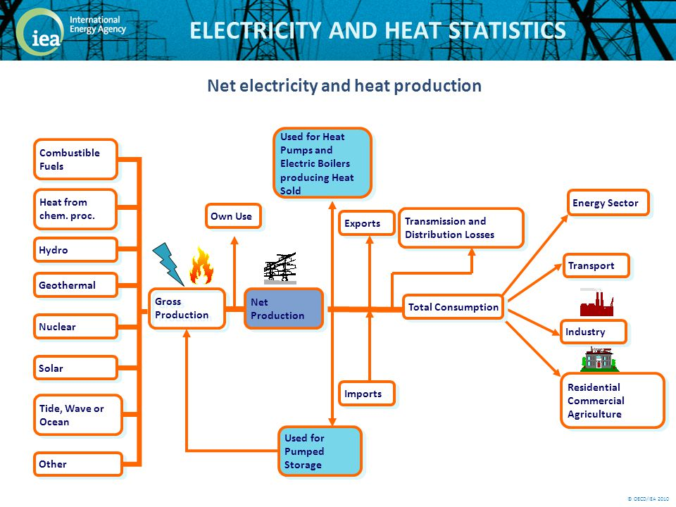 © OECD/IEA 2010 ELECTRICITY AND HEAT STATISTICS Gross Production Transport Industry Residential Commercial Agriculture Own Use Total Consumption Net Production Imports Exports Used for Heat Pumps and Electric Boilers producing Heat Sold Used for Pumped Storage Transmission and Distribution Losses Hydro Solar Tide, Wave or Ocean Other Combustible Fuels Geothermal Nuclear Heat from chem.