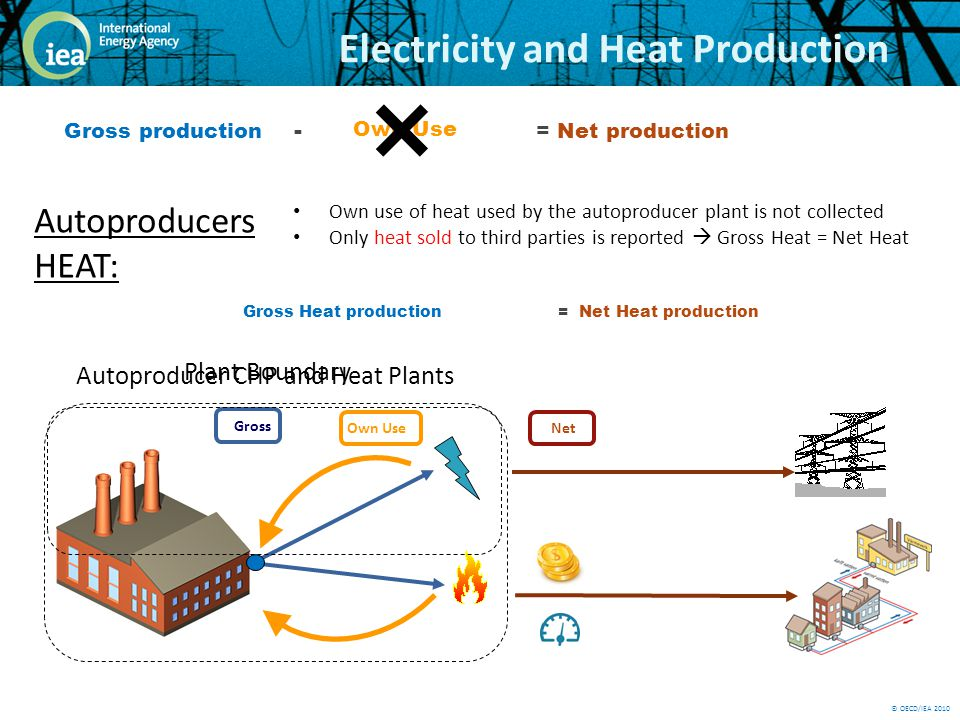 © OECD/IEA 2010 Electricity and Heat Production Gross Plant Boundary Own Use Net Gross production - .