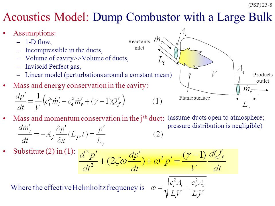 (PSP) 23-8 Acoustics Model: Dump Combustor with a Large Bulk Assumptions: –1-D flow, –Incompressible in the ducts, –Volume of cavity>>Volume of ducts,