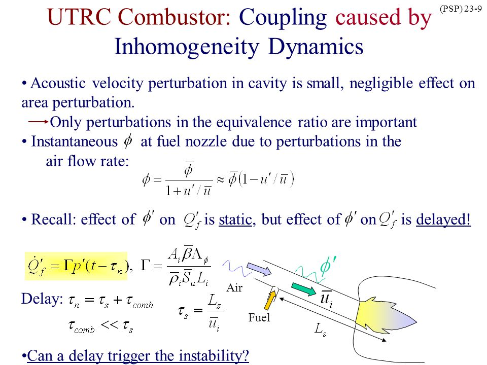 (PSP) 23-9 UTRC Combustor: Coupling caused by Inhomogeneity Dynamics Acoustic velocity perturbation in cavity is small, negligible effect on area pert