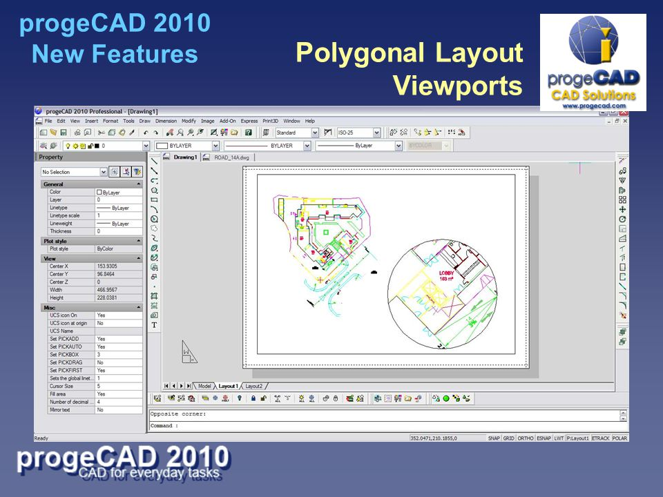 Polygonal Layout Viewports progeCAD 2010 New Features
