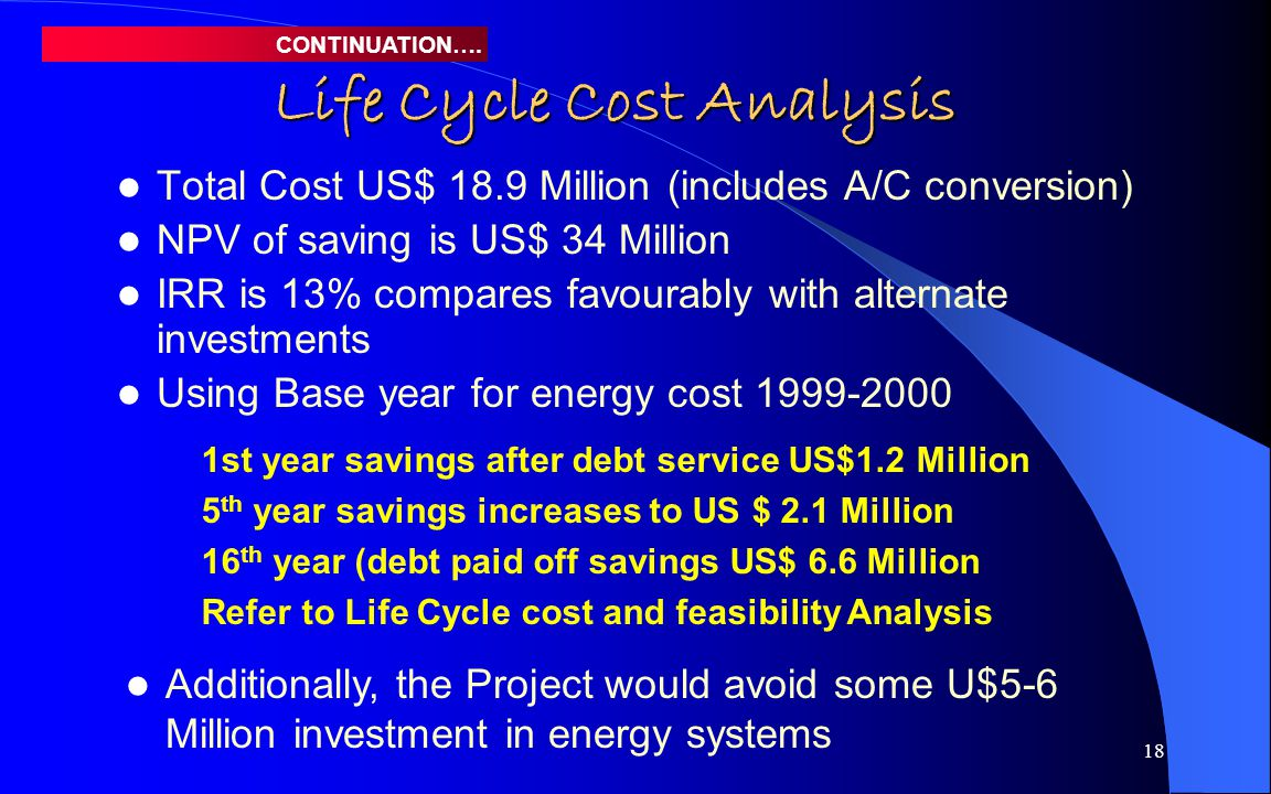 18 Life Cycle Cost Analysis Total Cost US$ 18.9 Million (includes A/C conversion) NPV of saving is US$ 34 Million IRR is 13% compares favourably with alternate investments Using Base year for energy cost 1999-2000 CONTINUATION….