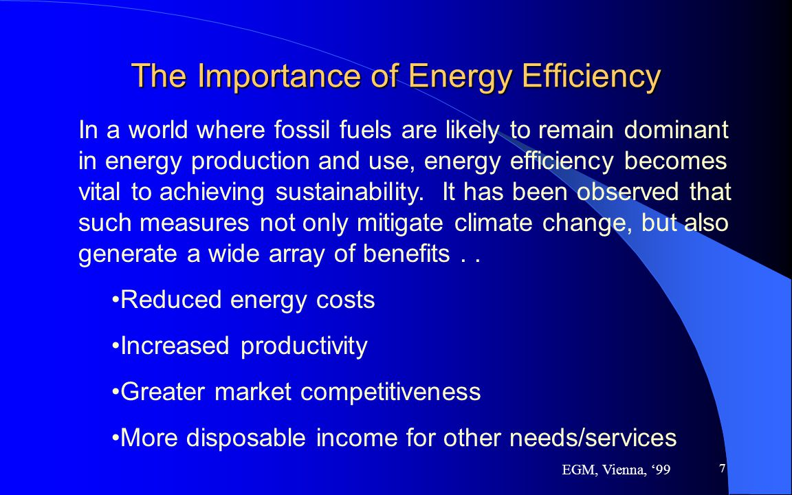 7 The Importance of Energy Efficiency In a world where fossil fuels are likely to remain dominant in energy production and use, energy efficiency beco