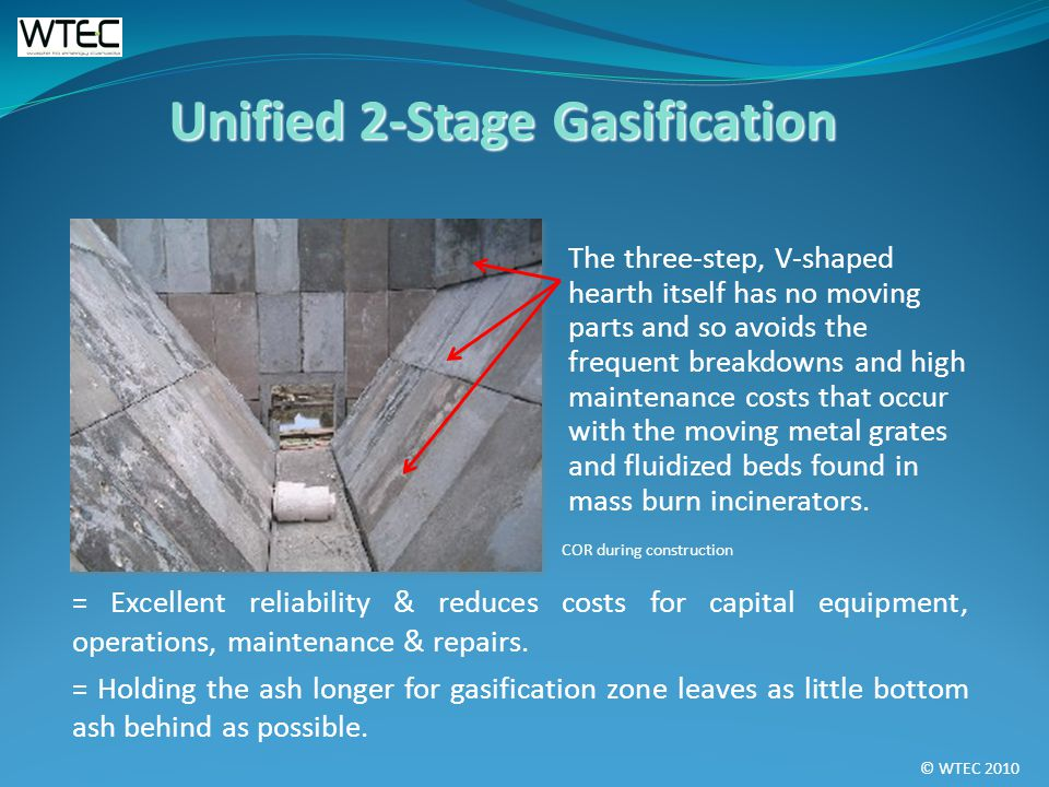 © WTEC 2010 The three-step, V-shaped hearth itself has no moving parts and so avoids the frequent breakdowns and high maintenance costs that occur with the moving metal grates and fluidized beds found in mass burn incinerators.