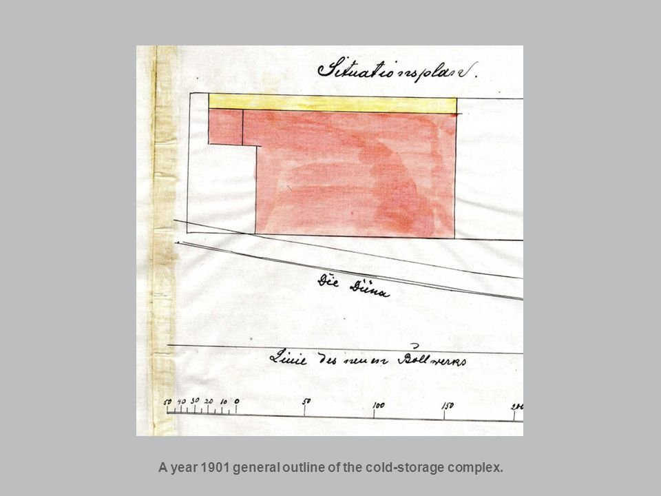 A year 1901 general outline of the cold-storage complex.