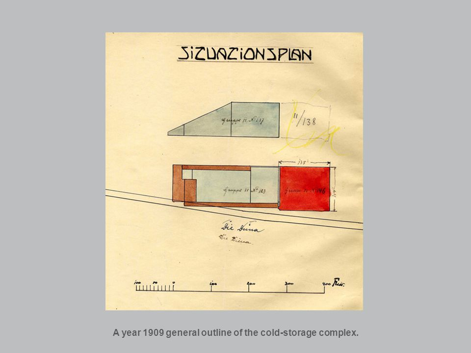 A year 1909 general outline of the cold-storage complex.