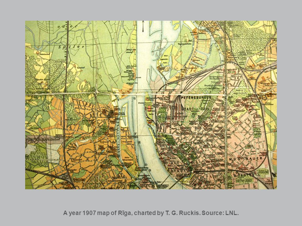 A fragment of a Rīgas map, made according to the survey of 1903 to 1908. Source: LNL.