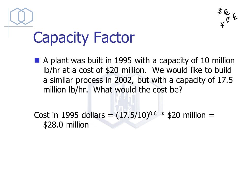 $ ¥ £ ¢ Capacity Factor A plant was built in 1995 with a capacity of 10 million lb/hr at a cost of $20 million. We would like to build a similar proce