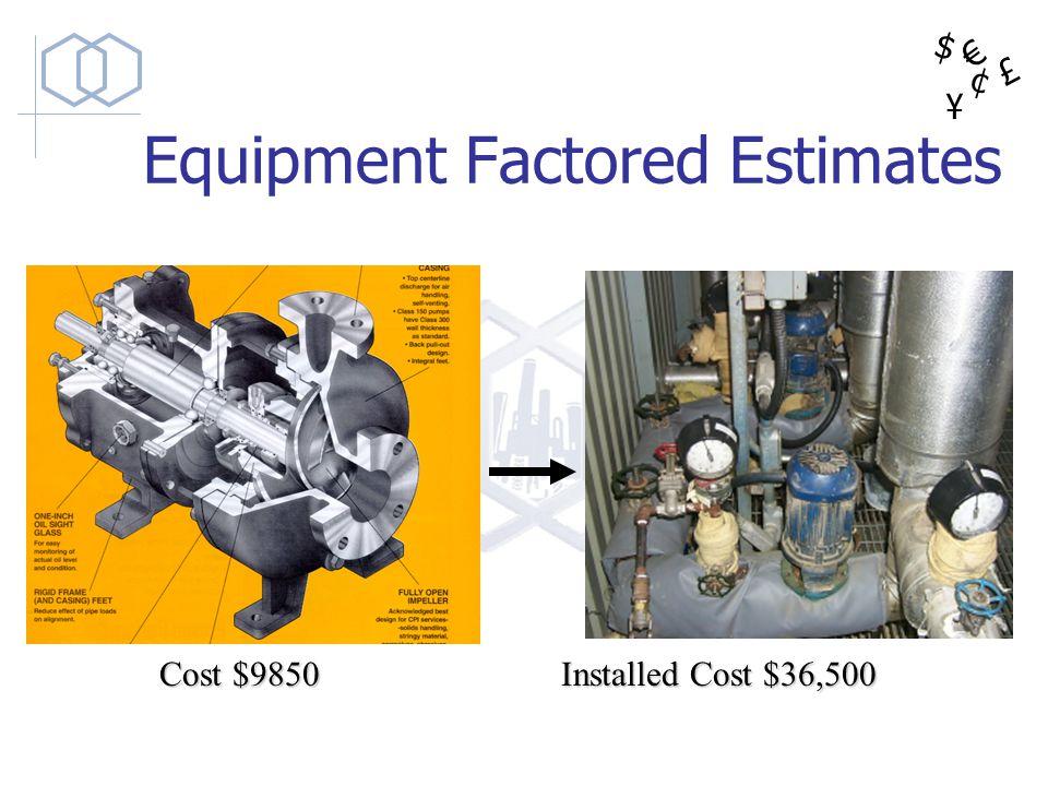 $ ¥ £ ¢ Cost $9850 Installed Cost $36,500 Equipment Factored Estimates