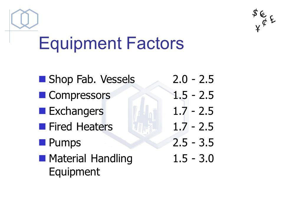 $ ¥ £ ¢ Equipment Factors Shop Fab. Vessels Compressors Exchangers Fired Heaters Pumps Material Handling Equipment 2.0 - 2.5 1.5 - 2.5 1.7 - 2.5 2.5 -
