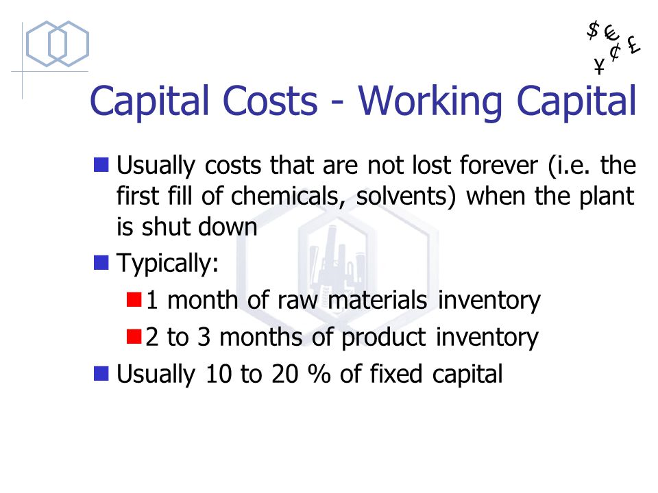 $ ¥ £ ¢ Capital Costs - Working Capital Usually costs that are not lost forever (i.e. the first fill of chemicals, solvents) when the plant is shut do