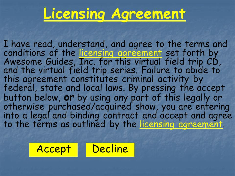 Licensing Agreement I have read, understand, and agree to the terms and conditions of the licensing agreement set forth by Awesome Guides, Inc.