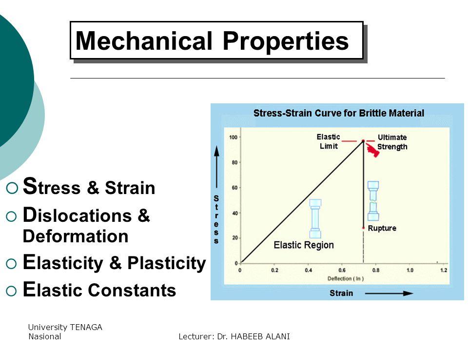 University TENAGA NasionalLecturer: Dr. HABEEB ALANI S tress & Strain D islocations & Deformation E lasticity & Plasticity E lastic Constants Mechanic