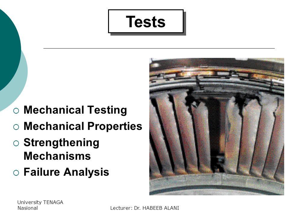 University TENAGA NasionalLecturer: Dr. HABEEB ALANI Tests Mechanical Testing Mechanical Properties Strengthening Mechanisms Failure Analysis