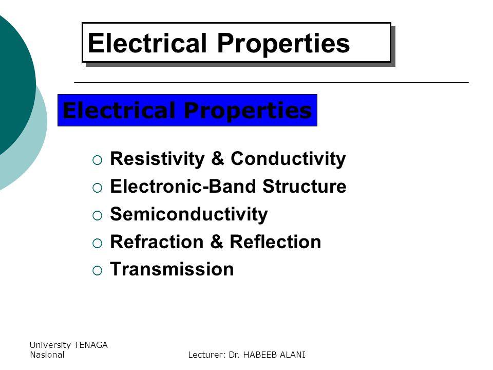 University TENAGA NasionalLecturer: Dr. HABEEB ALANI Resistivity & Conductivity Electronic-Band Structure Semiconductivity Refraction & Reflection Tra