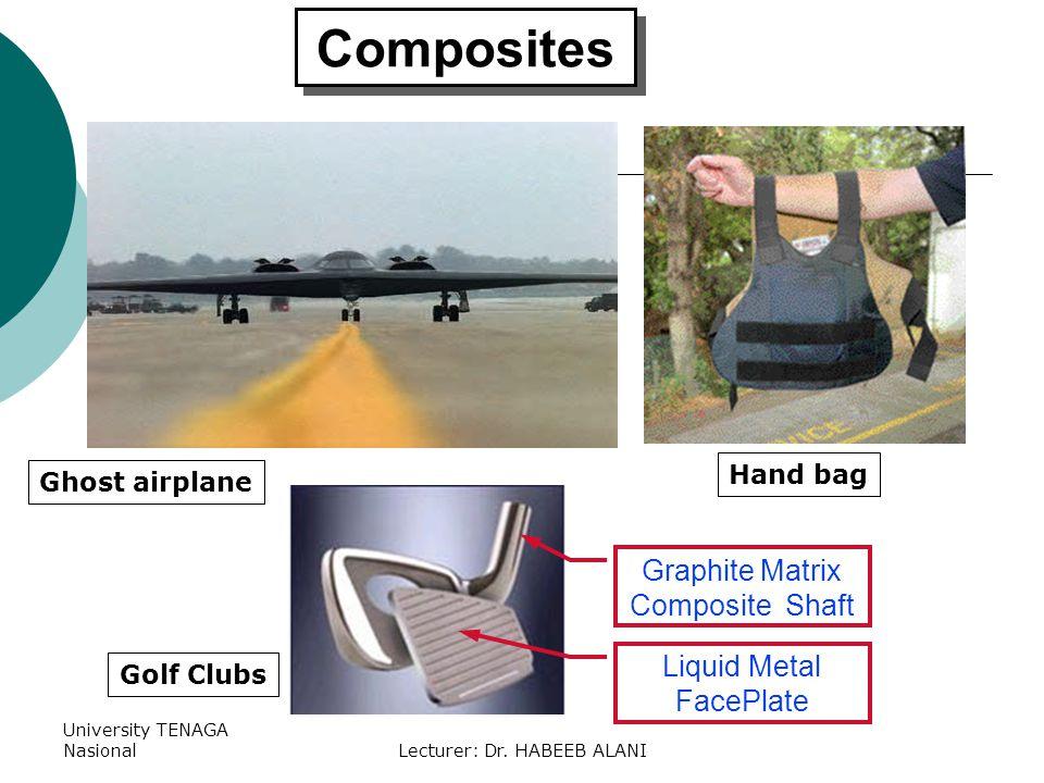 University TENAGA NasionalLecturer: Dr. HABEEB ALANI Composites Graphite Matrix Composite Shaft Liquid Metal FacePlate Golf Clubs Hand bag Ghost airpl