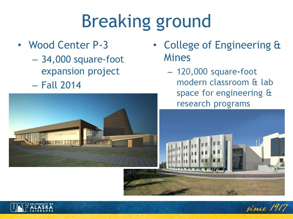 Breaking ground Wood Center P-3 – 34,000 square-foot expansion project – Fall 2014 College of Engineering & Mines – 120,000 square-foot modern classro