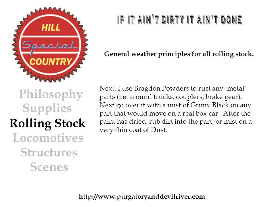 http://www.purgatoryanddevilriver.com Next, I use Bragdon Powders to rust any metal parts (i.e.