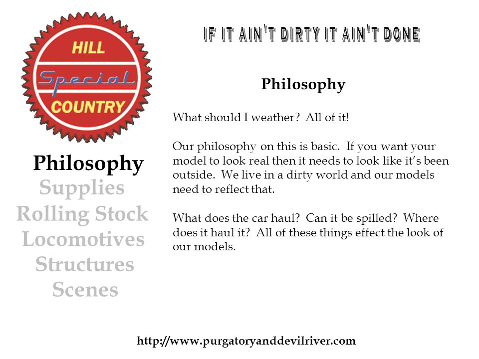 Philosophy Rolling Stock Locomotives Structures Scenes Philosophy What should I weather.