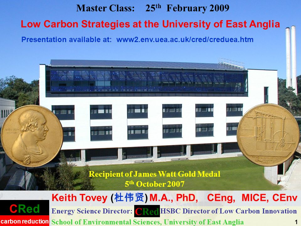 Low Energy Buildings and their Management Low Carbon Energy Provision –Photovoltaics –CHP –Adsorption chilling –Biomass Gasification Awareness issues Low Carbon Strategies at the University of East Anglia Low Energy Buildings and their Management 2